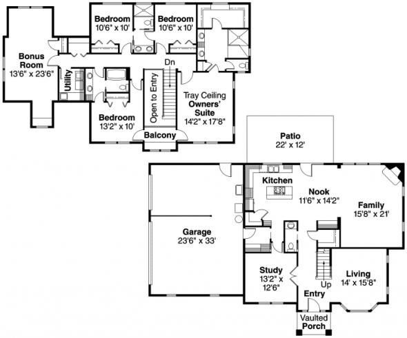 Gerabaldi - 30-543 - European Home Plan - Floor Plan