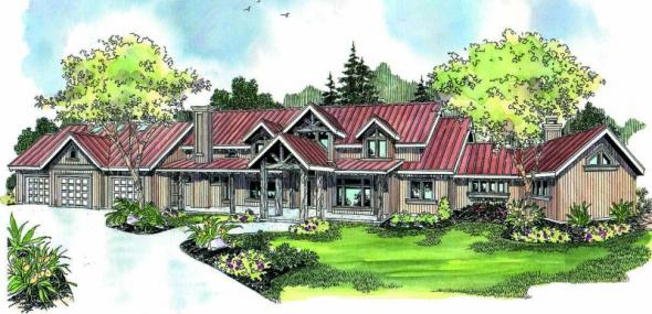 Coeur D'Alene - 30-634 - Estate Home Plan - Front Elevation