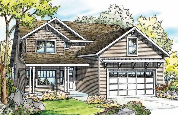 Elkhorn - 30-733 - Cottage Home Plan - Front Elevation