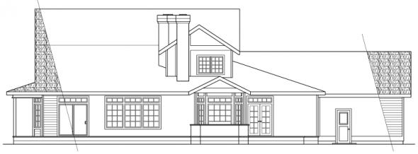 Shelburn - 30-035 - Country Home Plans - Rear Elevation