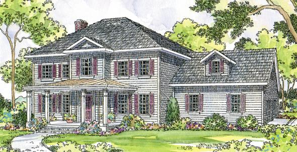 Lorane - 30-107 - Country Home Plan - Front Elevation