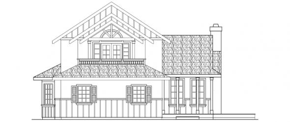 Walcott - 30-166 - Tudor Home Plan - Left Elevation