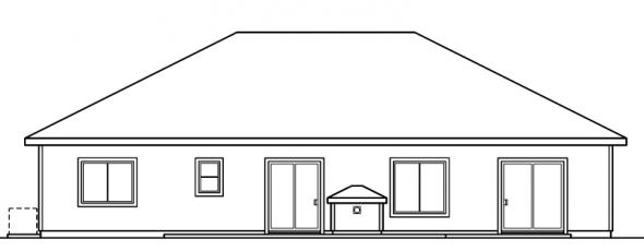 Arvada - 30-261 - Ranch Home Plan - Rear Elevation