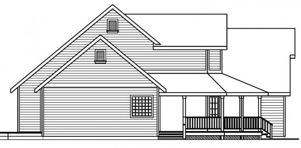 Loveland - 30-282 - Country Home Plan - Left Elevation