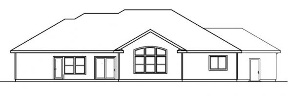 Brittany - 30-317 - Tuscan Home Plan - Rear Elevation