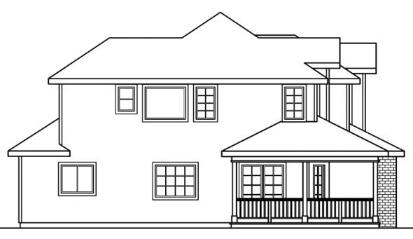 Kaitlyn - 30-338 - Country Home Plan - Left Elevation