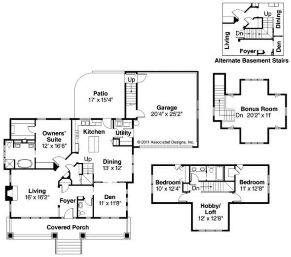 Carrington - 30-360 - Craftsman Home Plan - Floor Plan