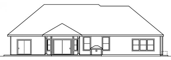Davidson - 30-384 - Traditional Home Plan - Rear Elevation