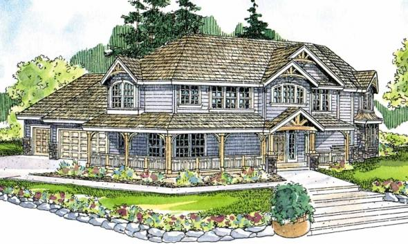 Rutherford - 30-411 - Craftsman Home Plan - Front Elevation