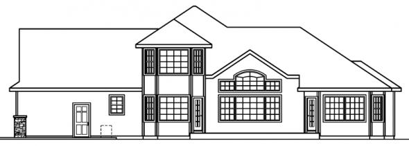 Crestwick - 30-425 - European Home Plan - Rear Elevation