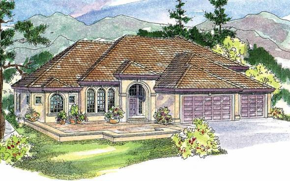 Corsica - 30-443 - Mediterranean Home Plan - Front Elevation