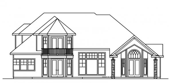 Southwick - 30-482 - European Home Plan - Rear Elevation