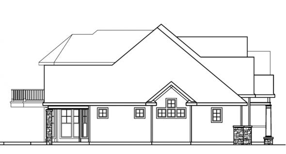 Southwick - 30-482 - European Home Plan - Left Elevation