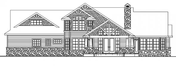 Tillamook - 30-519 - Craftsman Home Plan - Rear Elevation