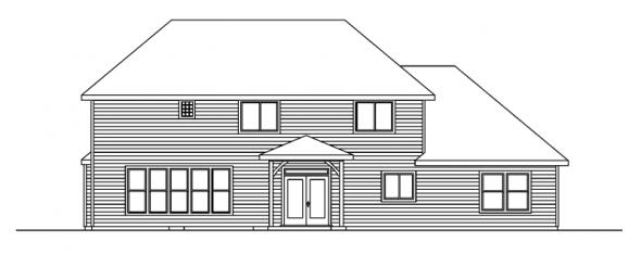 Sausalito - 30-521 - European Home Plan - Rear Elevation