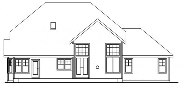 Scarborough - 30-530 - Craftsman Home Plan - Rear Elevation