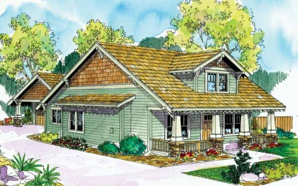 Fairfield - 30-583 - Craftsman Home Plan - Front Elevation