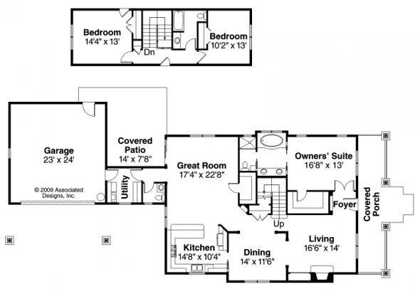 Fairfield - 30-583 - Craftsman Home Plan - Floor Plan