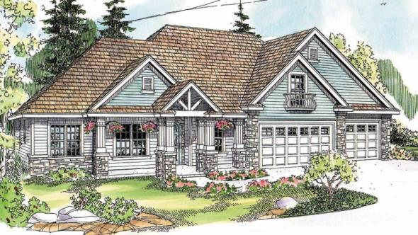 Allison - 30-608 - Country Home Plan - Front Elevation