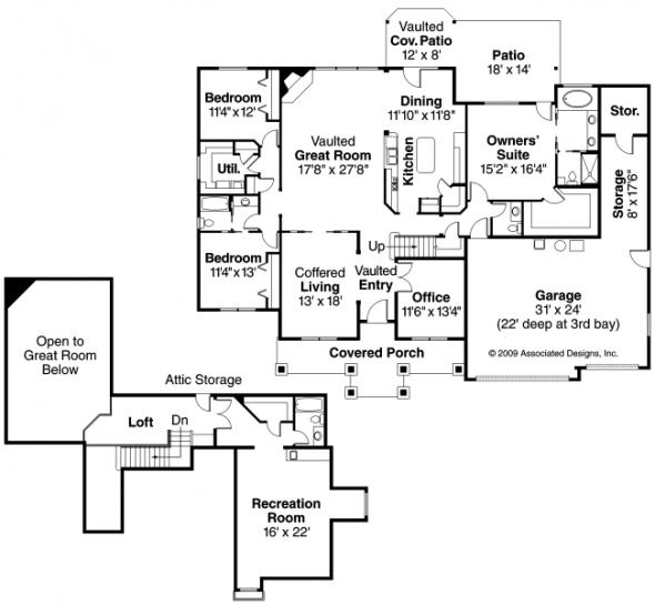 Allison - 30-608 - Country Home Plan - Floor Plan