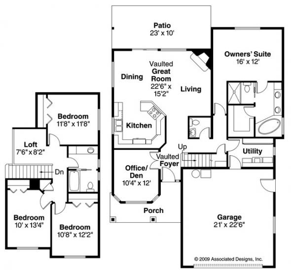 Bigsby - 30-642 - Craftsman Home Plan - Floor Plan