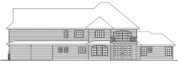 Charlottesville - 30-650 - European Home Plan - Rear Elevation