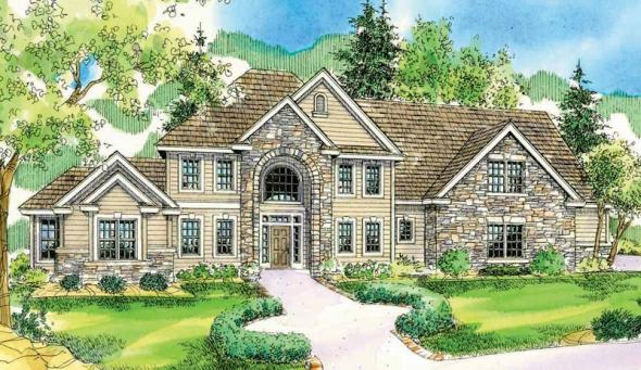 Charlottesville - 30-650 - European Home Plan - Front Elevation