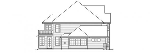 Charlottesville - 30-650 - European Home Plan - Left Elevation