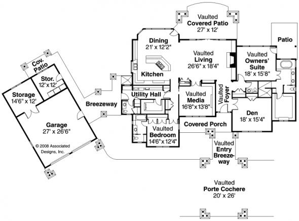 Arborgate - 30-654 - Craftsman Home Plan - Floor Plan