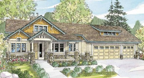 Pacifica - 30-683 - Estate Home Plan - Front Elevation