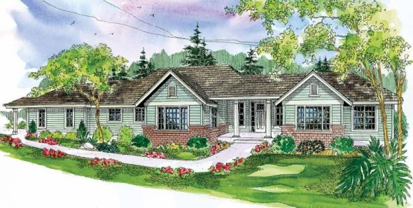 Parkdale - 30-684 - Ranch Home Plan - Front Elevation