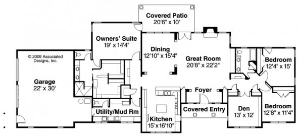 Parkdale - 30-684 - Ranch Home Plan - Floor Plan