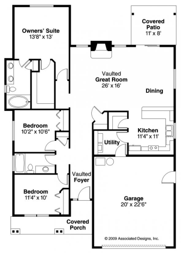 Barlow - 30-694 - Cottage Home Plan - Floor Plan
