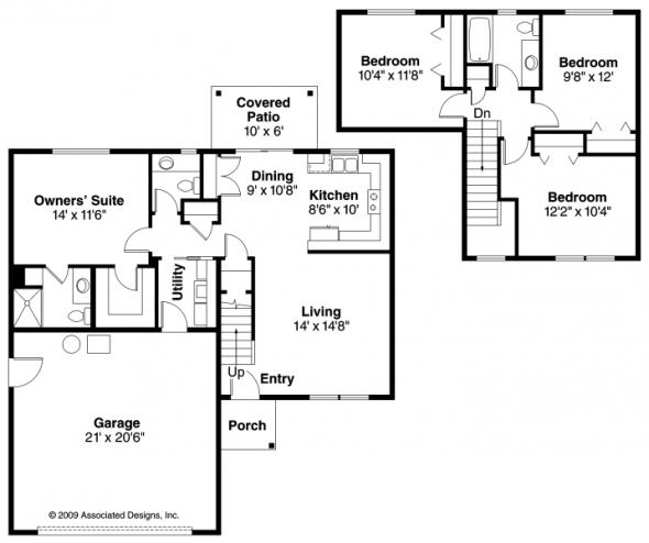 Wethersfield - 30-702 - Contemporary Home Plan - Floor Plan