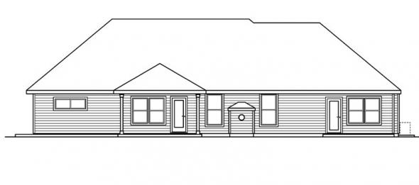 Littlefield - 30-717 - European Home Plan - Rear Elevation