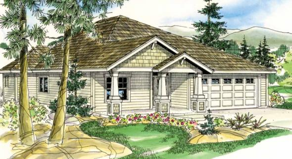 Logan - 30-720 - Craftsman Home Plan - Front Elevation