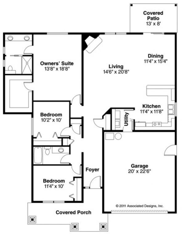Logan - 30-720 - Craftsman Home Plan - Floor Plan