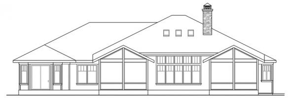 Metolius - 30-746 - Prairie Home Plan - Rear Elevation