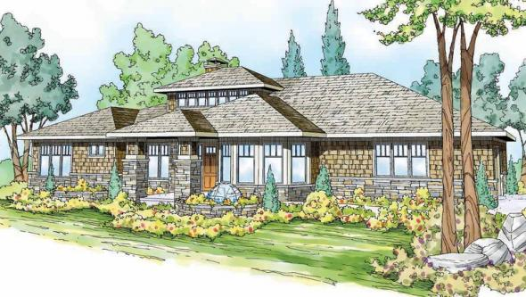 Metolius - 30-746 - Prairie Home Plan - Front Elevation