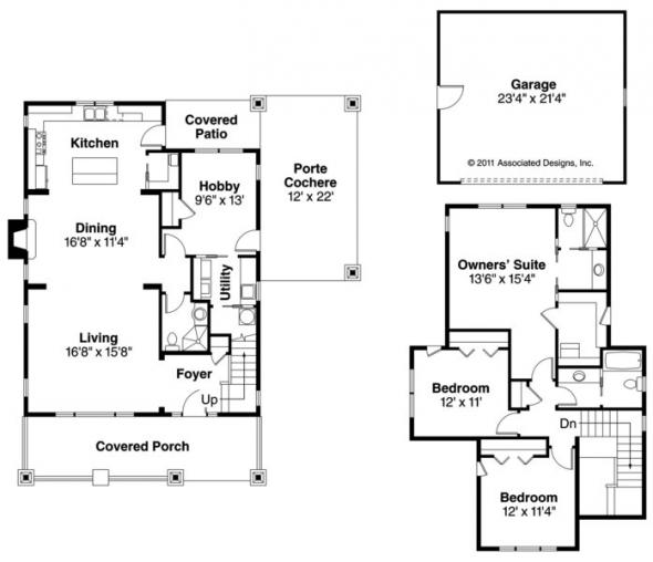 Blue River - 30-789 - Bungalow Home Plan - Floor Plan