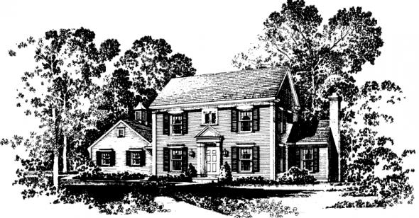 Maumee - 42-007 - Colonial Home Plans - Front Elevation