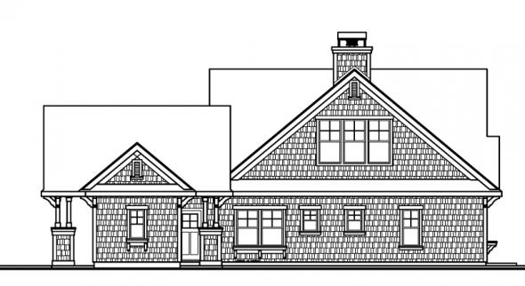 Longview - 50-014 - Shingle Style Home Plans - Rear Elevation