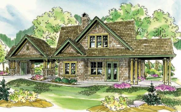 Longview - 50-014 - Shingle Style Home Plans - Front Elevation