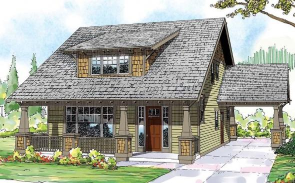 Blue River - 30-789 - Bungalow Home Plan - Front Elevation