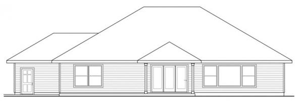Green Valley - 70-005 - Green Standard Home Plans - Rear Elevation