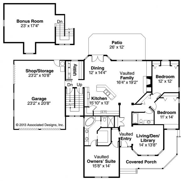 Clearheart - 10-410 - Country Home Plan - Floor Plan
