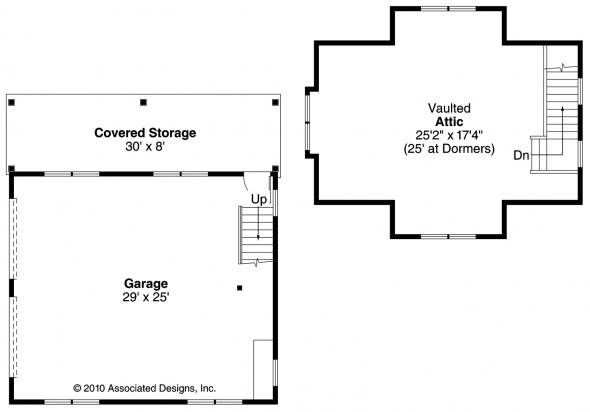 2 car Garage w/Attic - Garage Plans - Floor Plan