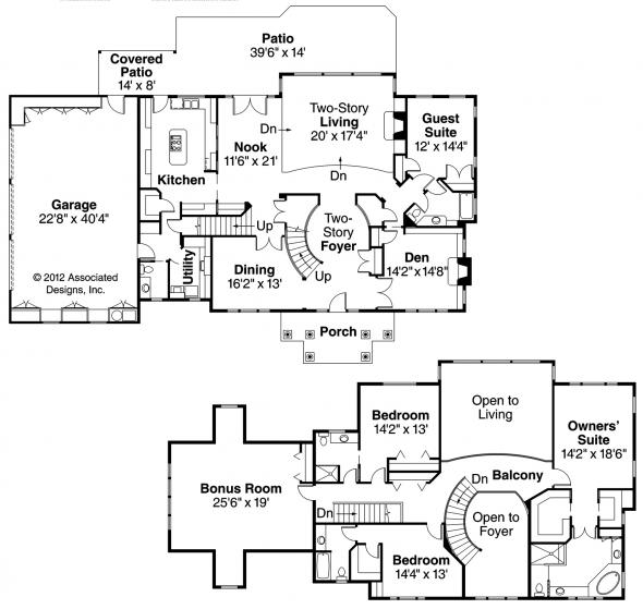 Roxbury - 30-187 - Colonial Home Plan - Floor Plan