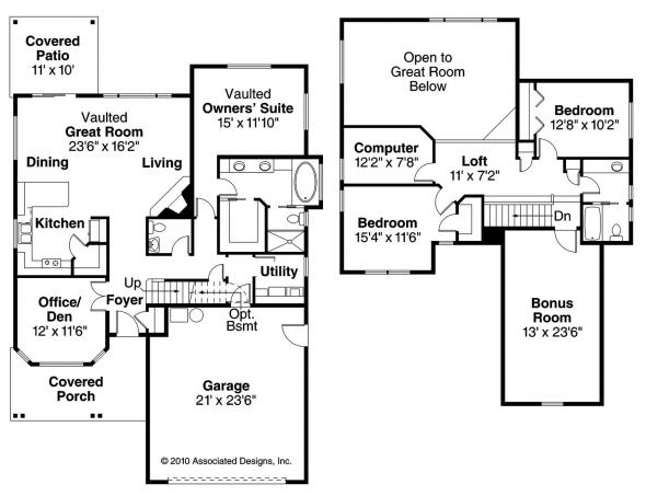 Elkhorn - 30-733 - Cottage Home Plan - Floor Plan