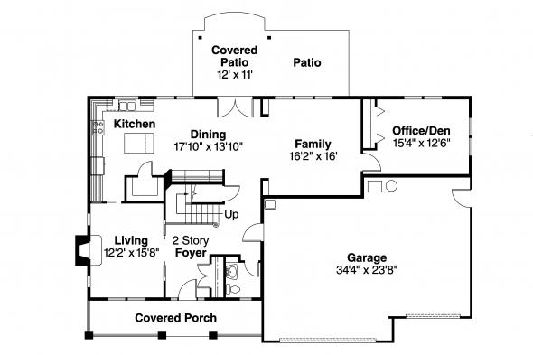 Bungalow House Plan - Cavanaugh 30-490 - 1st Floor Plan